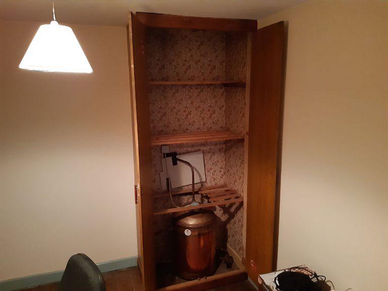 Removing the old wardrobe/hotpress